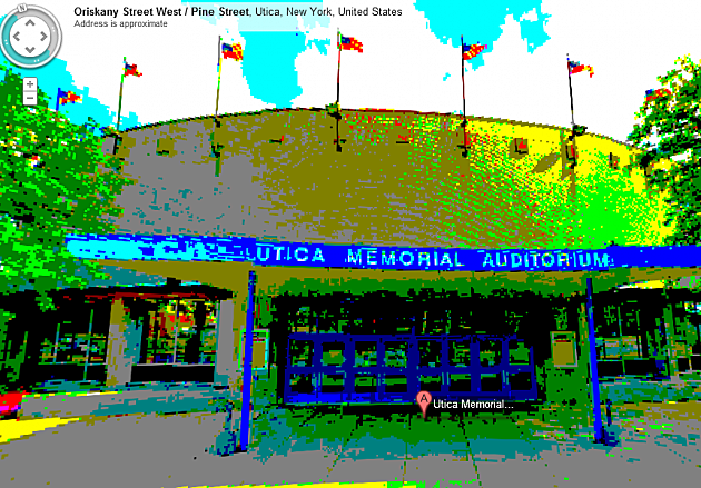 Utica Memorial Auditorium on Google Maps, 8-bit edition