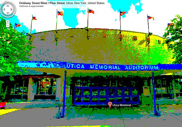Utica Memorial Auditorium on Google Maps, 8-bit edition