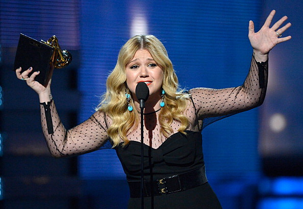 "Singer Kelly Clarkson accepts Best Pop Vocal Album award for ""Stronger"" onstage at the 55th Annual GRAMMY Awards"
