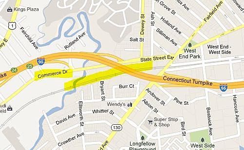 Area of Connecticut Train Derailment