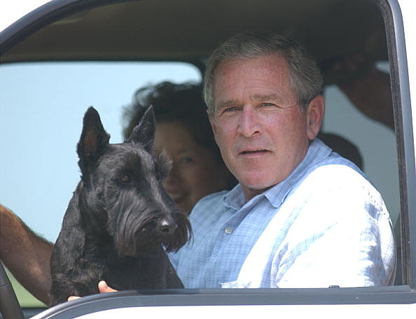 President George W. Bush sits in his vehicle as his dog, Barney