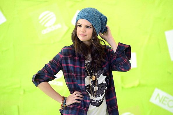 Selena Gomez wearing a beanie hat.