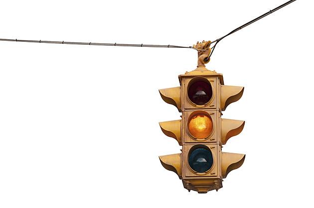 Caution yellow, Vintage traffic light