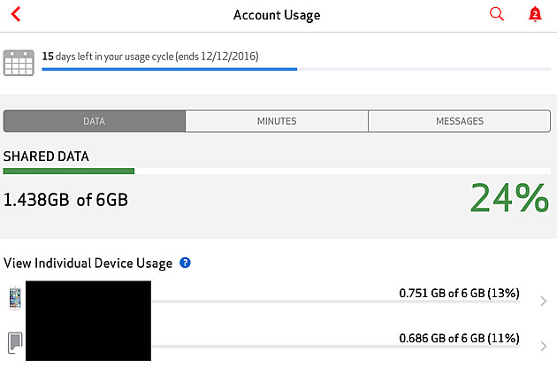 Verizon WIreless Account Usage