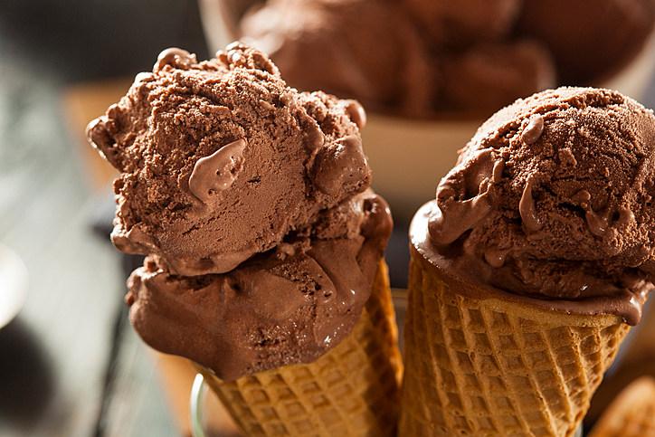 Homemade Dark Chocolate Ice Cream Cone