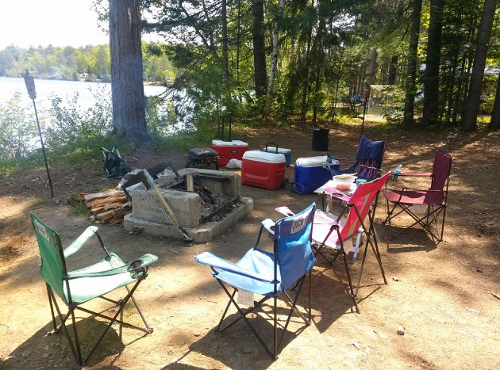 Chairs Around a Campfire at Eighth Lake in the Adirondacks