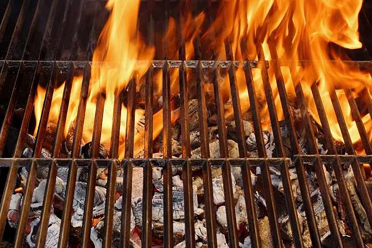 Hot Barbecue Grill and Burning Flames, XXXL