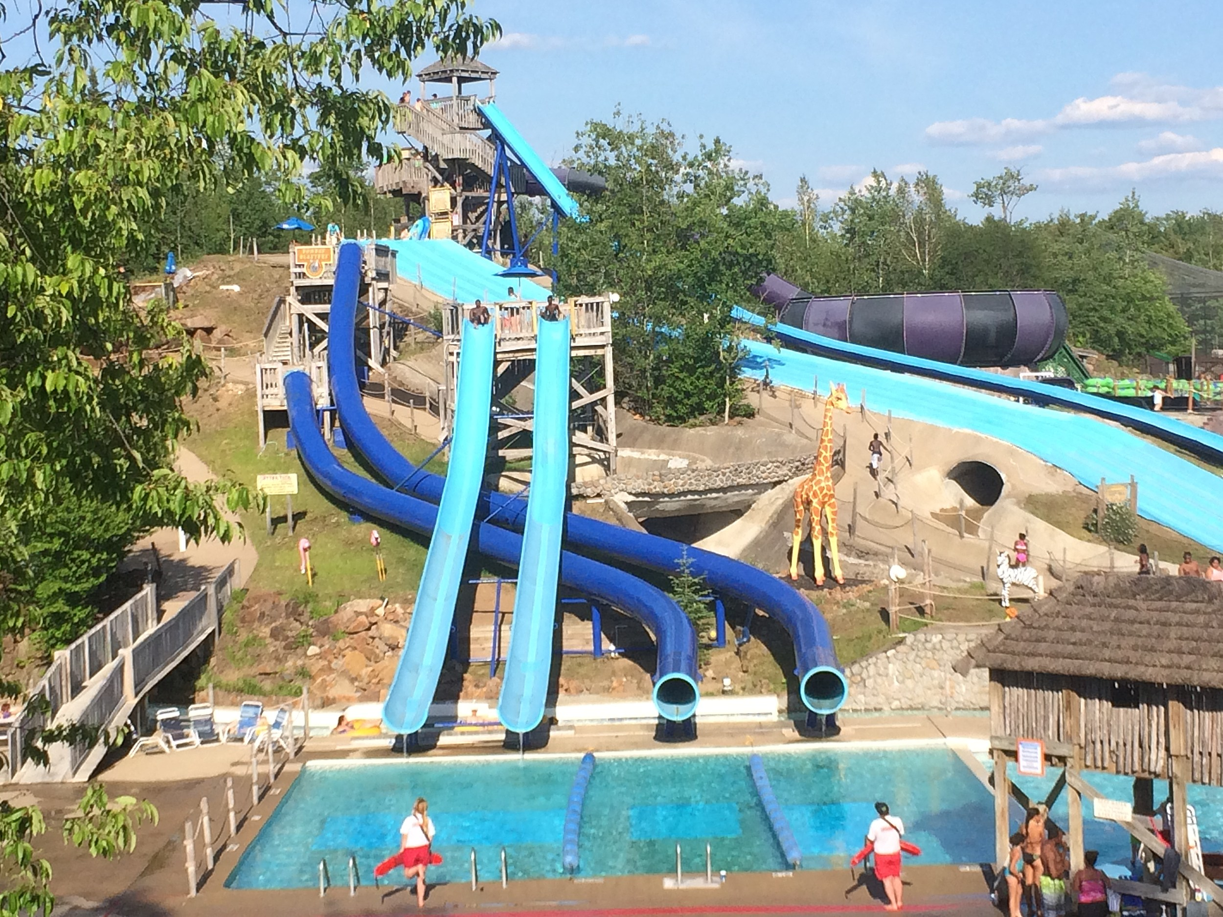 A View of Some of the Slides at Enchanted Forest Water Safari