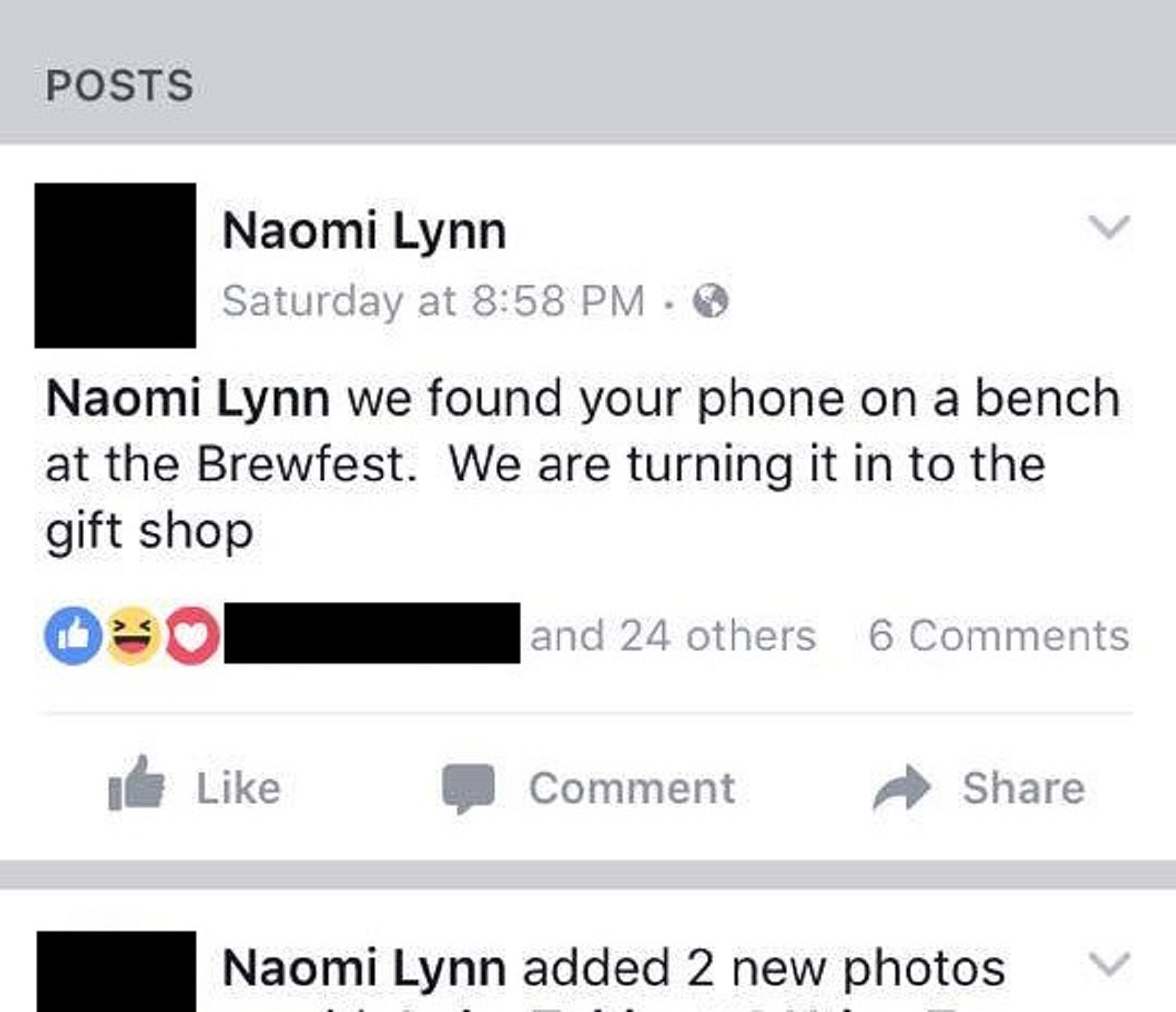 Facebook Post on Naomi's Wall From Person Who Found Her Phone