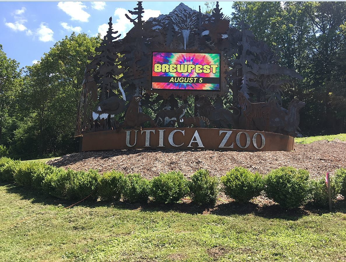 New Sign at the Utica Zoo with 'Brewfest' Lit Up
